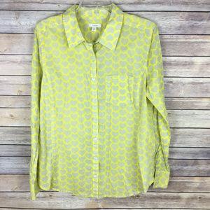 Caslon Medium Yellow Gray Heart Print Shirt